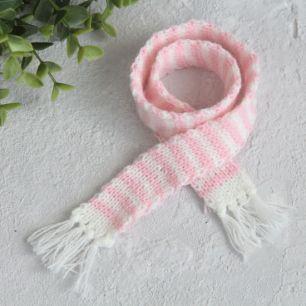 Кукольный аксессуар - Шарф полосатый бело-розовый