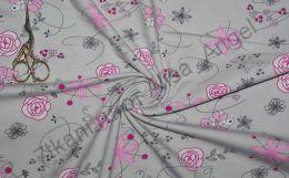 Розовые цветы на сером кулирка с лайкрой отрез 0,95м