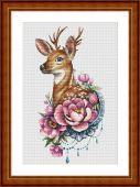 """Deer and peony"". Digital cross stitch pattern."