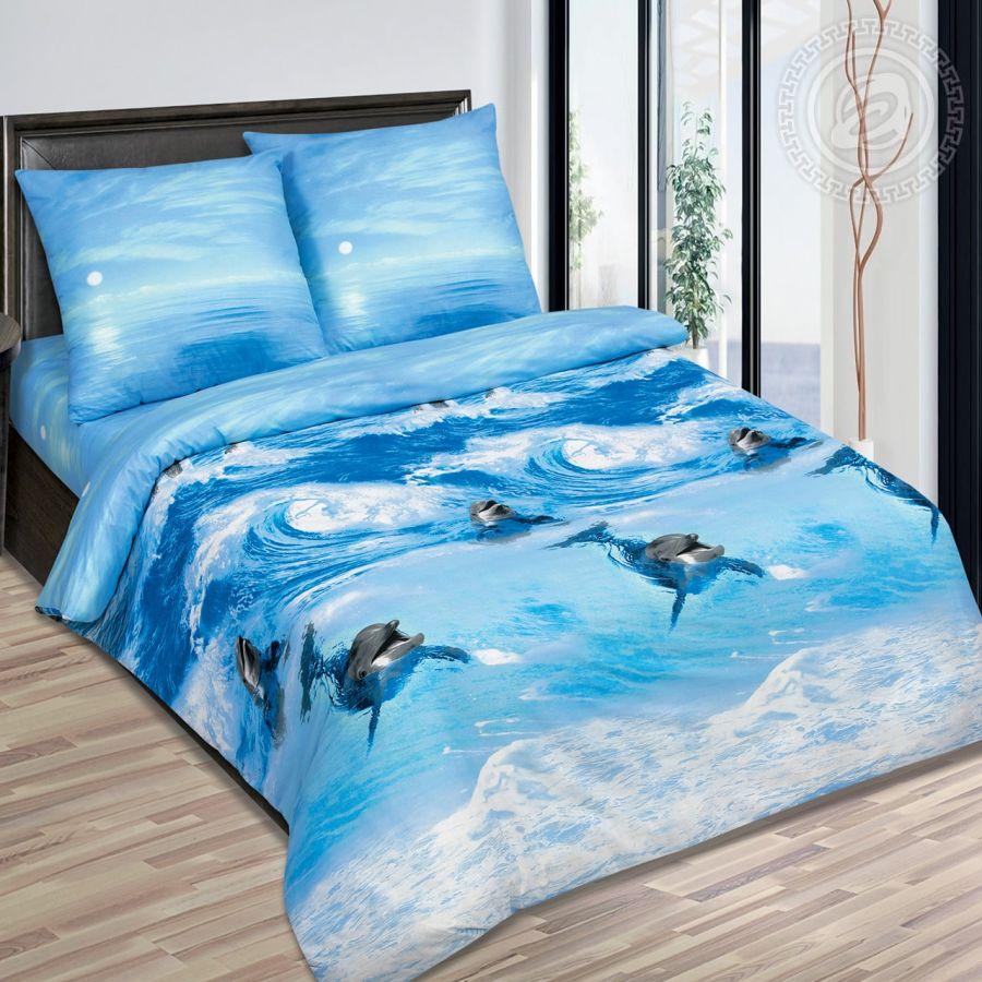 «Дельфины» (DE LUXE) постельное белье Поплин Семейный