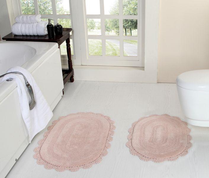 Коврик для ванной Дамиана (пудра) Букле Кружево 50х80(1), 45х60(1)