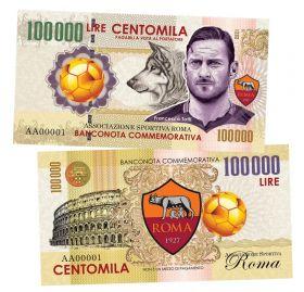 100 000 lire (лиры) - ФК Рома. Франческо Тотти. Италия. (Roma. Francesco Totti. Italy). 2021 UNC