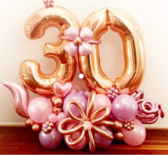 Композиция из шаров на 30 лет , золото