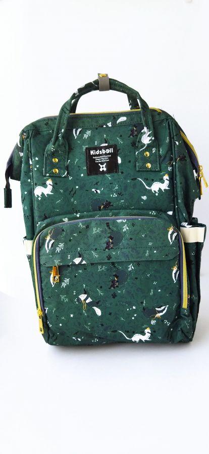 Рюкзак для мам с USB зеленый/куница