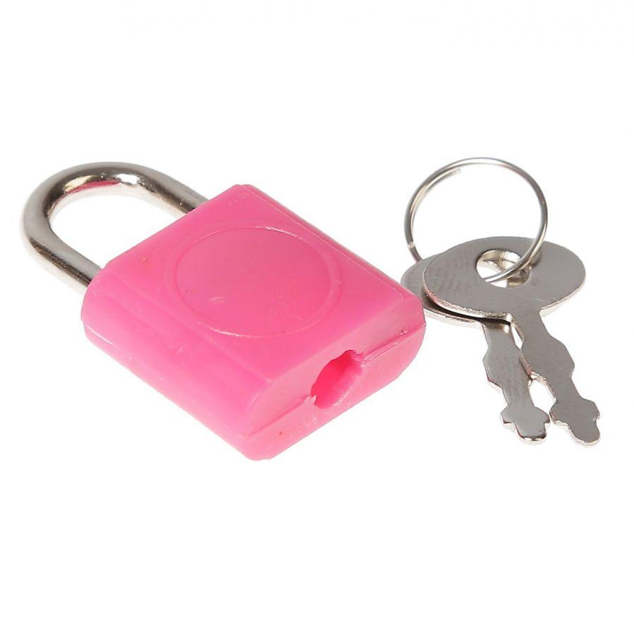 Замок для шкатулки, подвесной с ключиком, розовый, 3,1*1,9 см