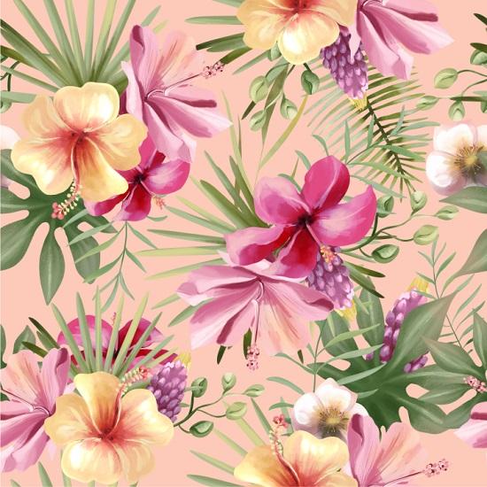 Хлопок Перкаль - Тропический сад на персиковом 50х37