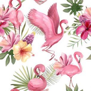 Хлопок Перкаль - Фламинго на белом 50х37