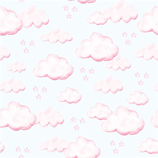 Хлопок Перкаль - Облачка на белом 50х37