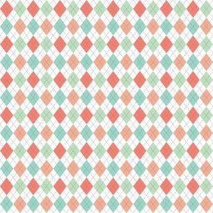 Хлопок Перкаль - Ромбы кораллово-голубые 50х37