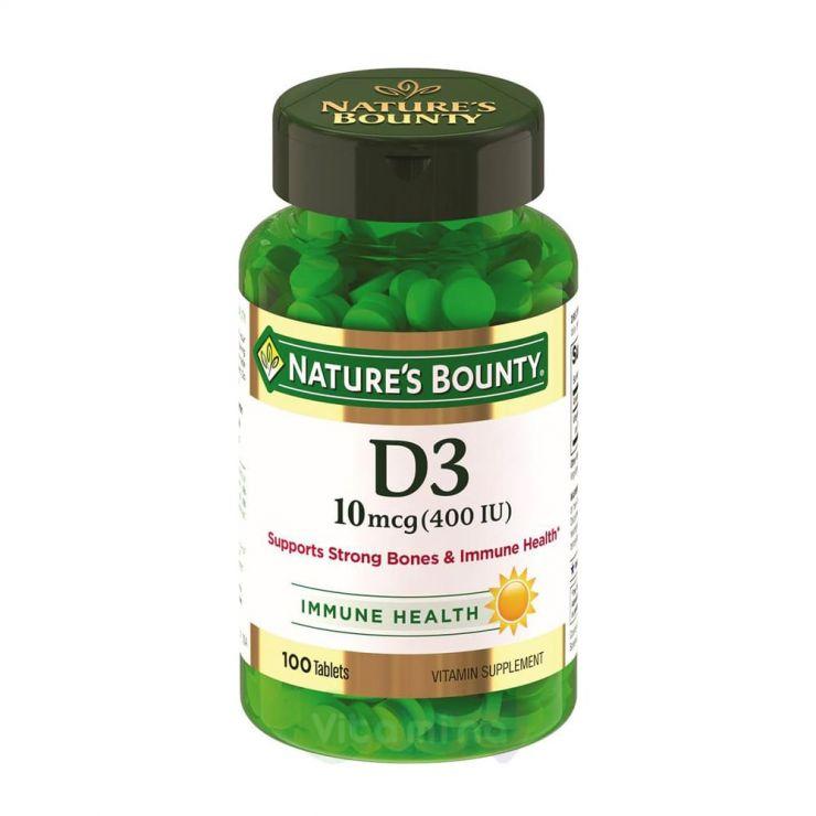 Нэйчес Баунти Витамин D3 400 МЕ, 100 шт.