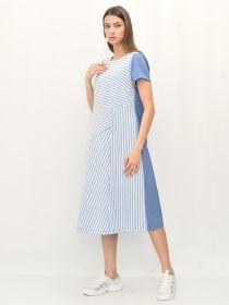 Платье для беременных голубой,белый,голубой  ГАПЛ-7.0/ГБГ