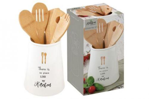 Банка-подставка с кух.инструментами (5 инстр.из бамбука) Kitchen Elements в подарочной упаковке EL-R1911_KITE