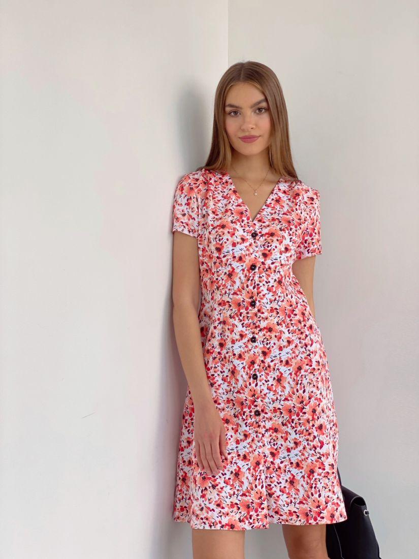 4047 Платье на пуговичках с маками