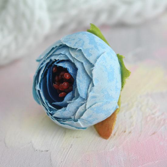 Цветок 3,5 см - тканевый Голубой