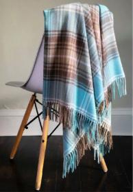 Легкий шотландский плед, расцветка (тартан) Локкеррон вариант Опаловый LOCHCARRON OPAL TARTAN LAMBWOOL BLANKET, 100 % стопроцентная шотландская овечья шерсть, плотность 6.