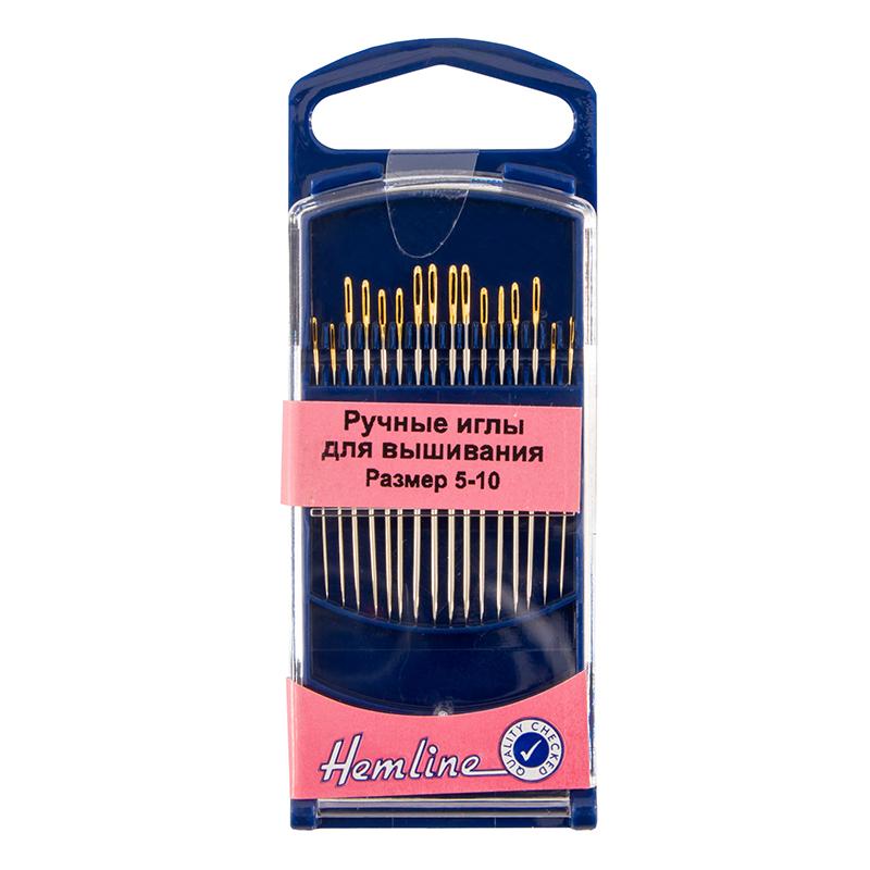 Иглы Hemline для вышивания с золотым ушком и острым кончиком в пластиковом контейнере ( 280G.510)