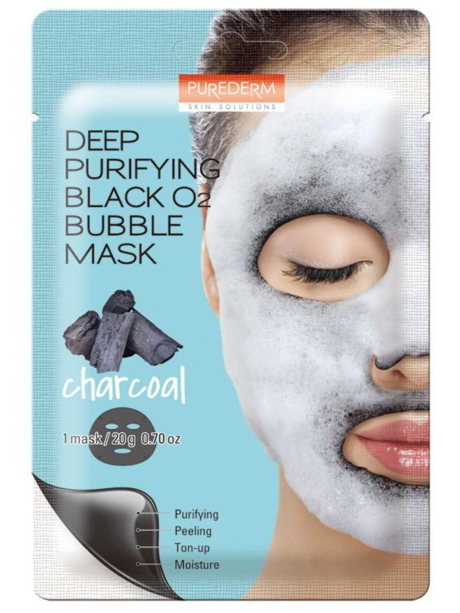 Кислородная маска для лица с углем Deep Purifying Black O2 Bubble Mask Charcoal