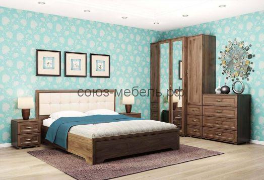 Спальня Классика (тумба ТМ+кровать КР+мягкая спинка МН+тумба ТМ+пенал ПЯ+шкаф ШУ-Z+пенал ПЯ+комод КМ)