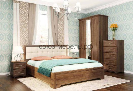 Спальня Классика (тумба ТМ+Кровать КР+мягкая спинка МН+тумба ТМ+шкаф ШК-3+карниз К-08+КМ-0,6)