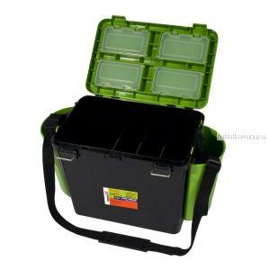 Ящик зимний рыболовный Helios FishBox, односекционный, 19л, зеленый