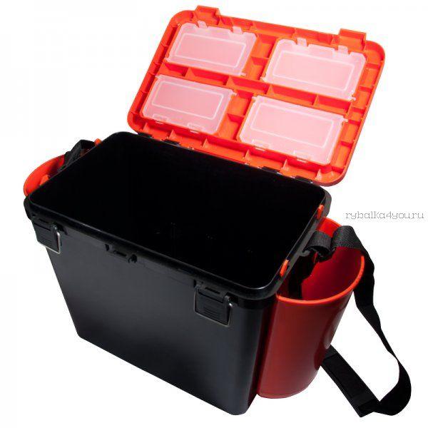 Ящик зимний рыболовный Helios FishBox, односекционный, 19л, оранжевый