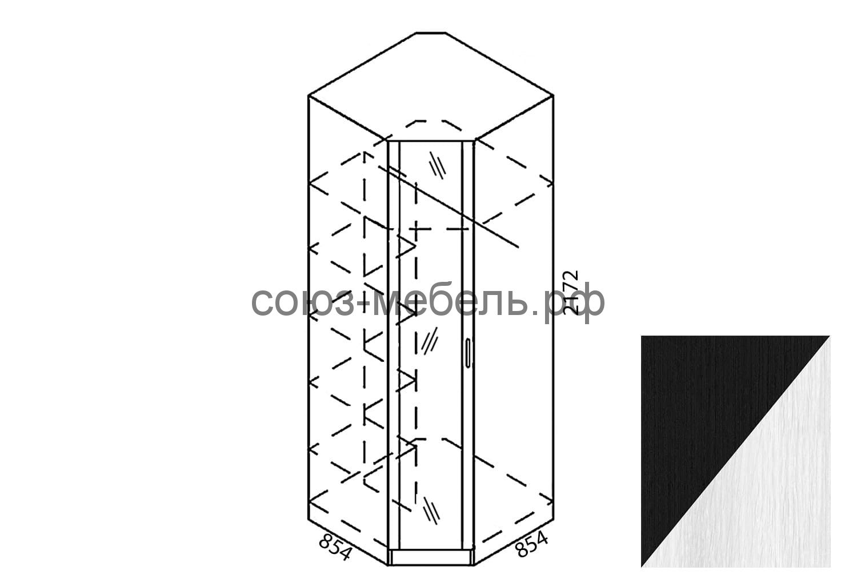 Камелия Шкаф угловой с зеркалом Ш-УГ-Z