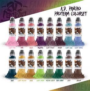 World Famous Ink A.D. PANCHO PRO-TEAM COLOR SET 1 oz