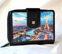 Кожаный кошелёк Ночной Париж