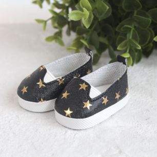 Обувь для кукол - Мокасины черные с золотыми звездами, 6 см.