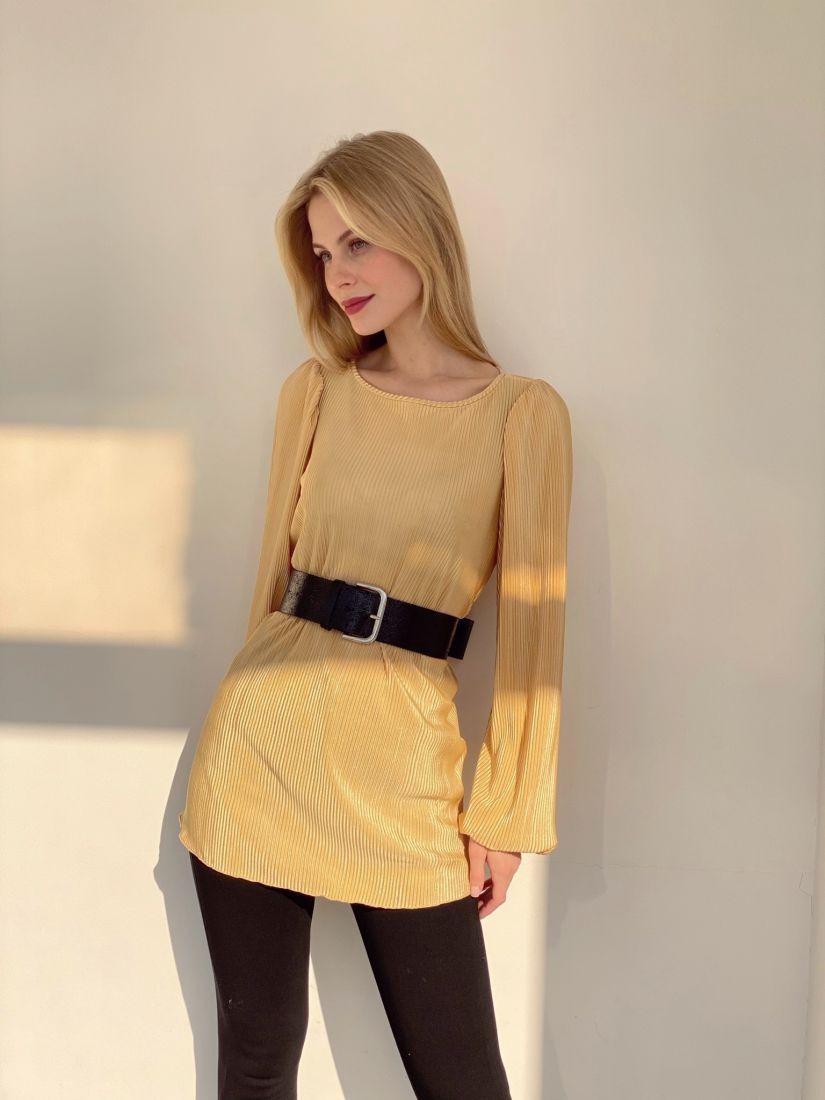 4060 Блуза из гофрированного армани-шёлка в золотисто-жёлтом цвете