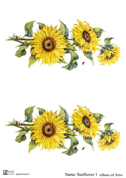 Декупажная карта Base of art, 20*30 см, Sunflower 1