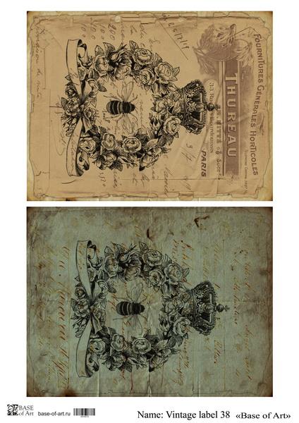 Декупажная карта Base of art, 20*30 см, Vintage label 38