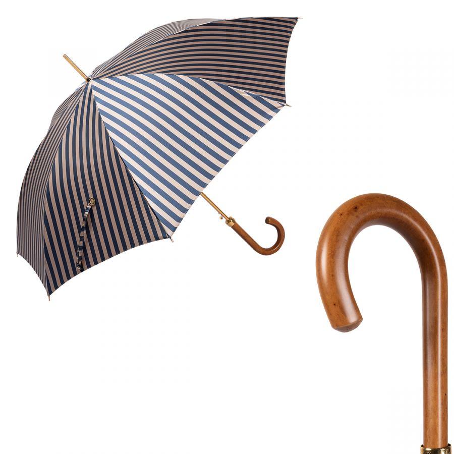 Зонт-трость Pasotti Uno StripesL Blu/Beige Legno