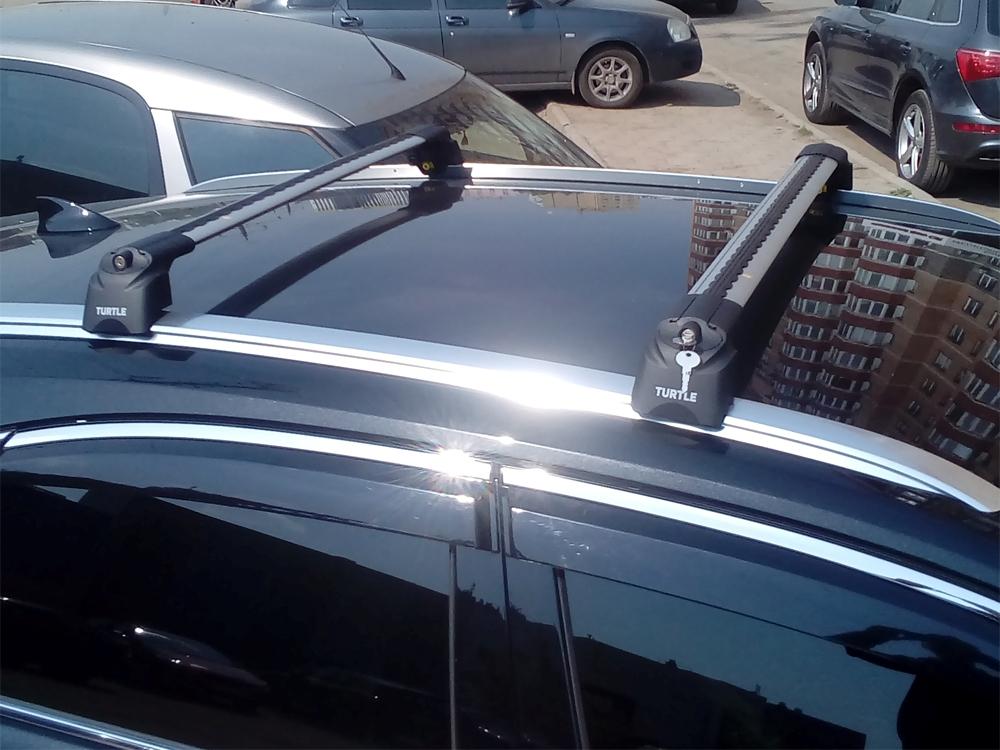 Багажник на крышу Lexus NX, Turtle Air 2, аэродинамические дуги на интегрированные рейлинги (серебристый цвет)