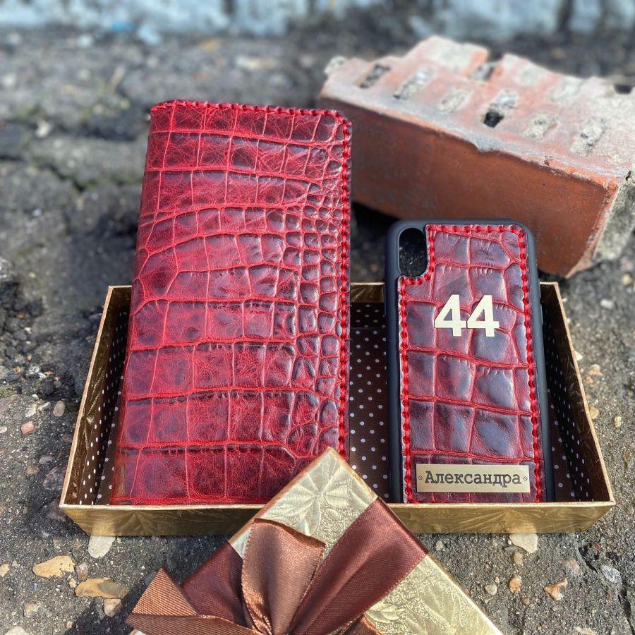 """Роскошный набор """"Red style №44""""из натуральной кожи ручной работы"""