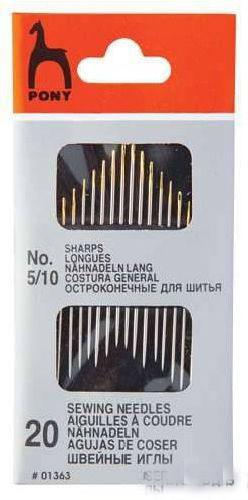фото Иглы швейные PONY Набор №5-10 ассорти острые. 20 штук в упаковке 01363