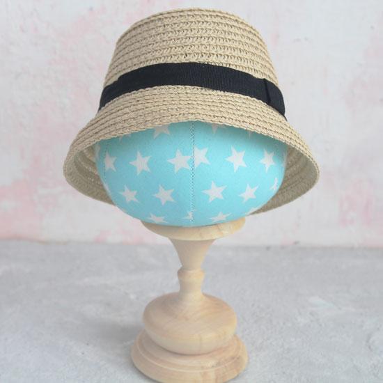 Кукольный аксессуар - Шляпка соломенная с черным кантом