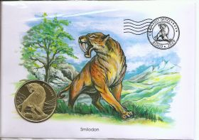 Доисторические животные   Набор 4 монеты  х 5 долларов Остров Биоко (Гвинея) 2020 в конвертах