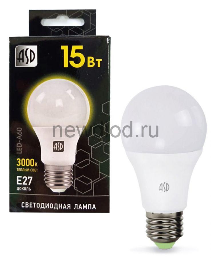 Лампа светодиодная LED-A60-black 15Вт 230В Е27 3000К 1350Лм ASD