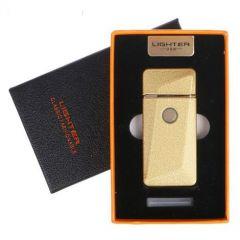 Зажигалка электронная золотая в подарочной коробке