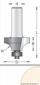Фреза радиусная с нижним подшипником DIMAR 38.1x19.1x67x12 R12.7 1090199