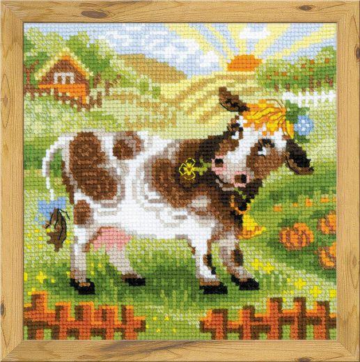 Набор для вышивания крестом Хуторок. Коровка №1522 фирма Риолис
