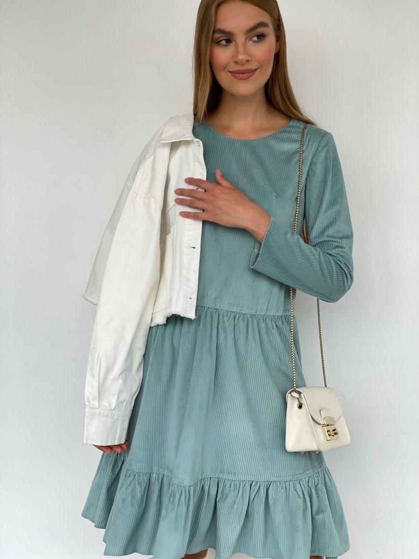 3872 Платье вельветовое с воланом фисташковое