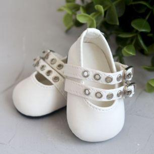 Обувь для кукол - Сандалии молочные с двойным ремешком, 7 см.