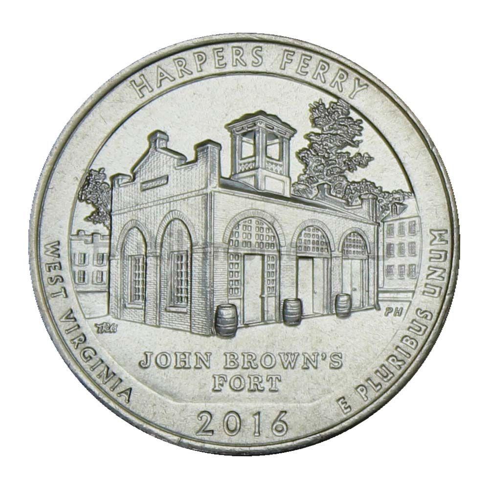 25 центов 2016 США Национальный исторический парк Харперс Ферри D