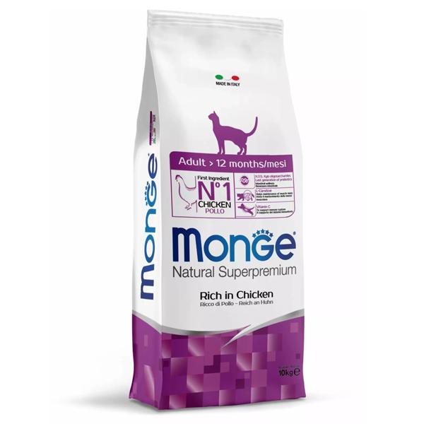 Сухой корм для кошек Monge Natural Superpremium с курицей 10 кг