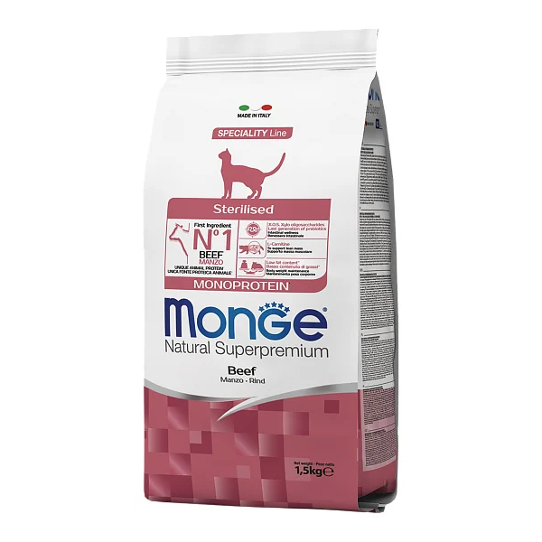 Сухой корм для стерилизованных кошек Monge Monoprotein с говядиной 1.5 кг