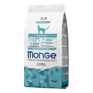 Сухой корм для стерилизованных кошек Monge Monoprotein с треской 1.5 кг