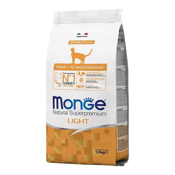 Сухой корм для кошек Monge Speciality line профилактика избыточного веса с индейкой 1.5 кг