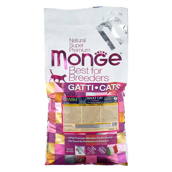 Сухой корм для кошек Monge BWILD Feed the Instinct с зайцем 10 кг